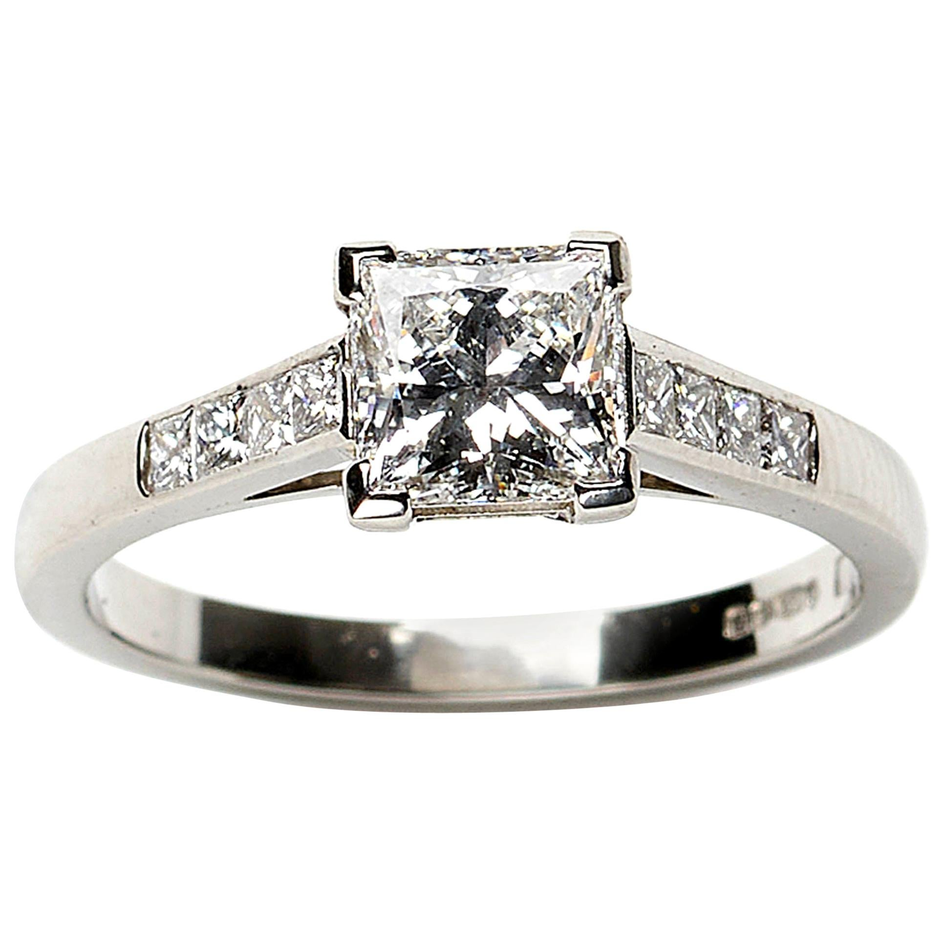 Princess Cut Diamond and Platinum Ring, 1.03 Carat