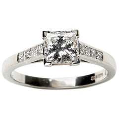 Princess Cut Diamond and Platinum Ring, 1.03 Carat