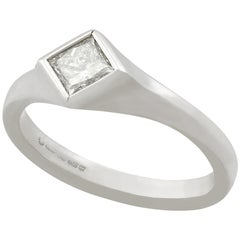 Princess Cut Diamond and White Gold Solitaire Ring