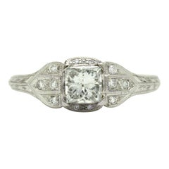 Princess Cut Diamond Art Deco Revival White Gold Engagement Ring Engraved Band