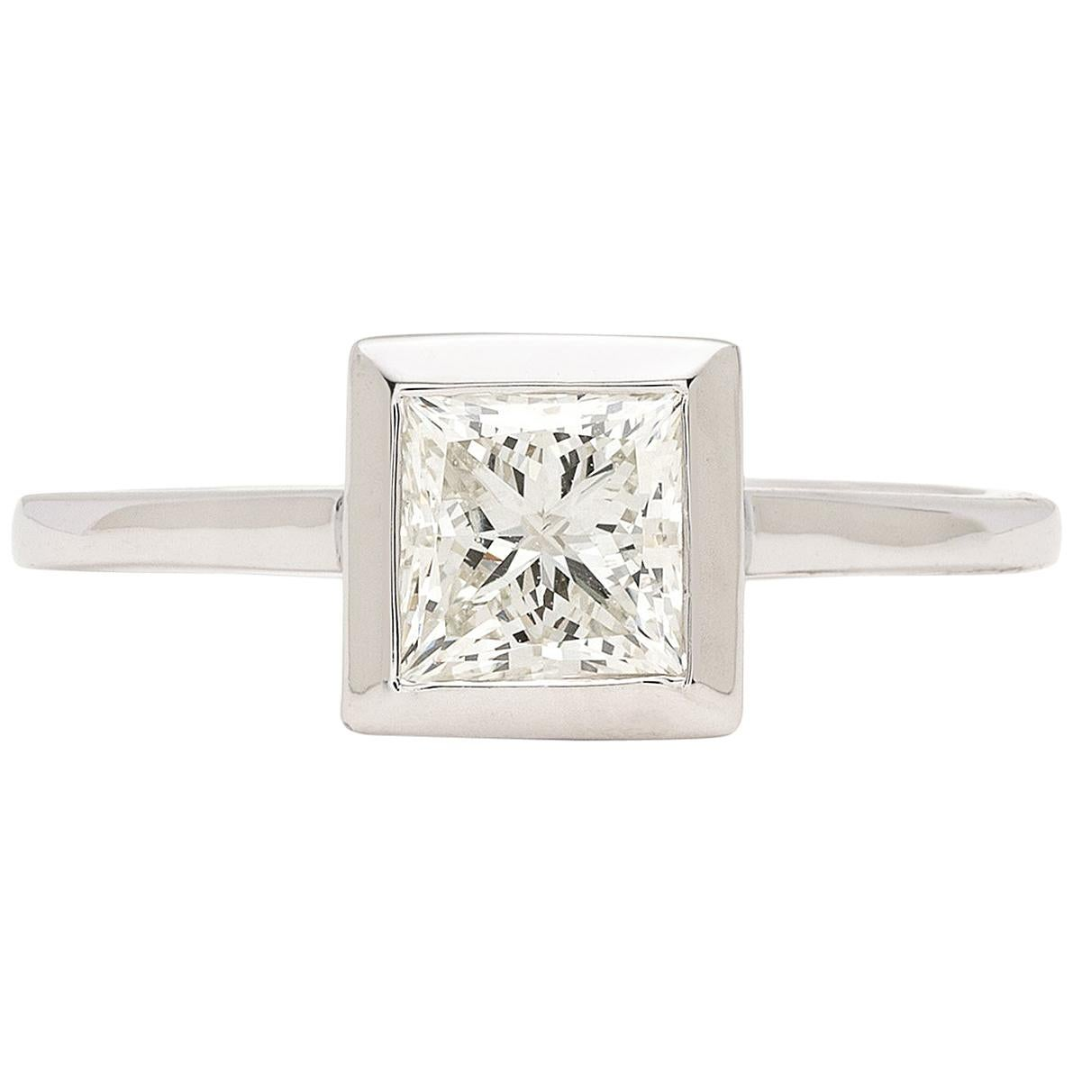 Princess-Cut Diamond Bezel Set Engagement Ring