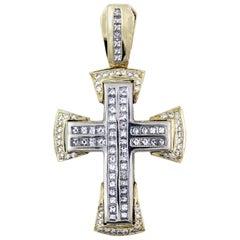 Princess Cut Diamond Cross Pendant Yellow and White Gold