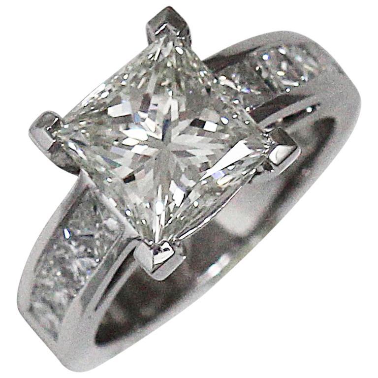 77806fd64d5 Princess Cut Diamond Engagement Ring 3.00 + Carat TW, 18 Karat White Gold