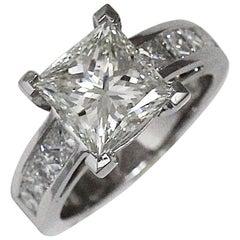 Princess Cut Diamond Engagement Ring 3.00 + Carat TW, 18 Karat White Gold