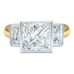 Princess Cut Diamond Engagement Ring 4.2 Carat H-SI1 GIA Certfied