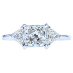 Princess Cut Diamond Engagement Ring with Custom Gallery, Trillion Side Stones