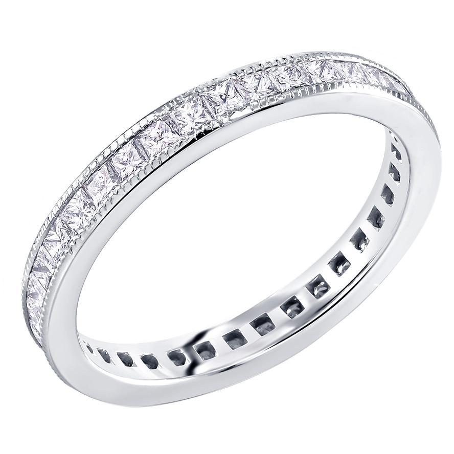 Princess Cut Diamond Eternity Platinum Milgrain Band Weighing 1.45 Carat