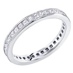 Princess Cut Diamond Eternity Platinum Milgrain Band Weighing 1.45 Carat