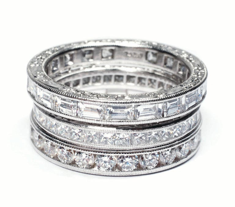 Princess Cut Diamond Eternity Platinum Wedding Band Weighing 2.75 Carat In New Condition For Sale In New York, NY