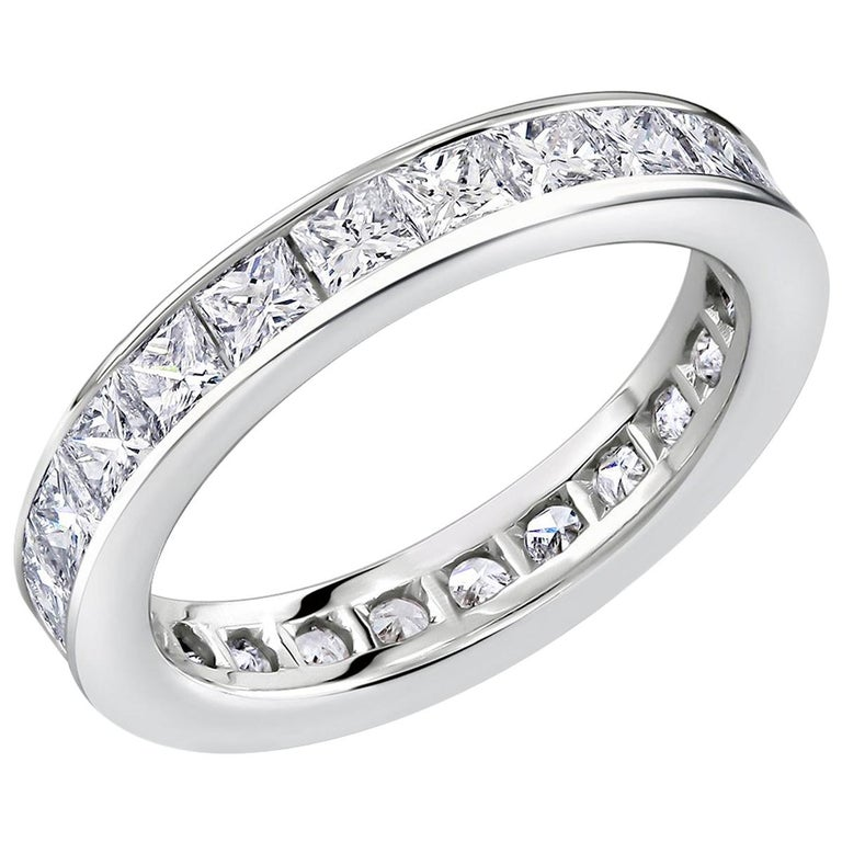 Princess Cut Diamond Eternity Platinum Wedding Band Weighing 2.75 Carat For Sale