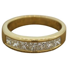 Princess-Cut Diamond Gold Band Ring