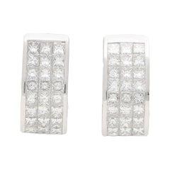 Princess Cut Diamond Half Hoop Earrings Set in 18k White Gold