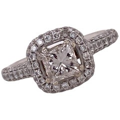 Princess Cut Diamond Halo 18 Karat White Gold Engagement Ring