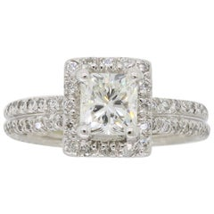 Princess Cut Diamond Halo Engagement Ring in 18 Karat White Gold