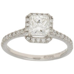 Princess Cut Diamond Halo Platinum Engagement Ring