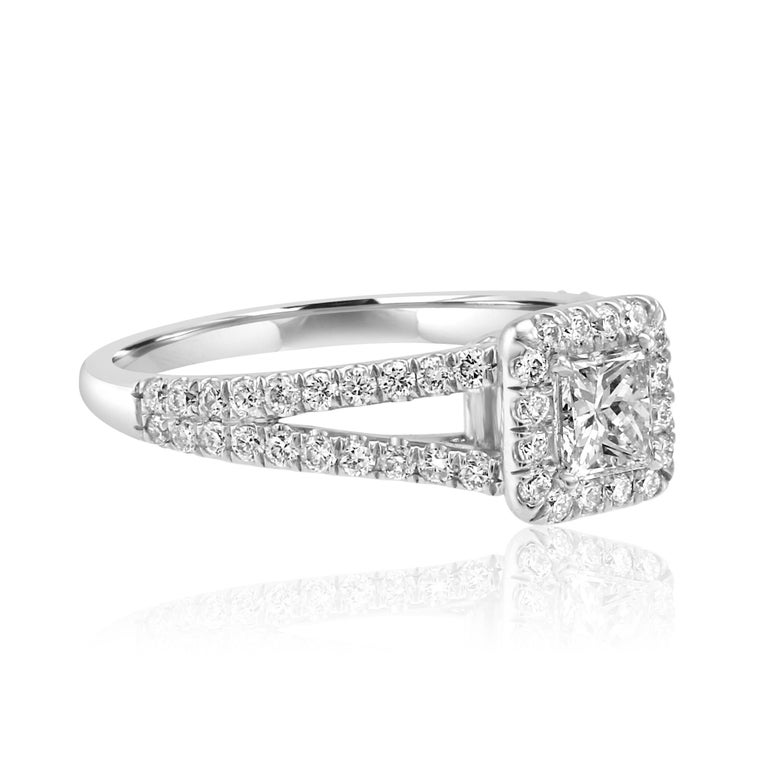 Modern Princess Cut Diamond Halo Split Shank White Gold Bridal Engagement Fashion Ring For Sale