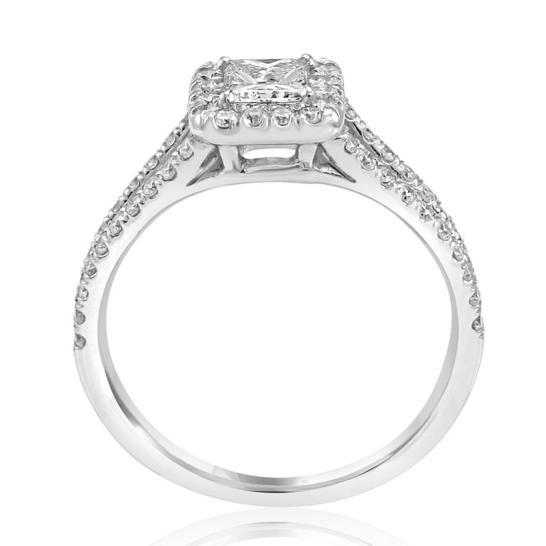 Princess Cut Diamond Halo Split Shank White Gold Bridal Engagement Fashion Ring For Sale 2