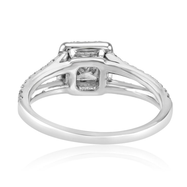 Princess Cut Diamond Halo Split Shank White Gold Bridal Engagement Fashion Ring For Sale 3