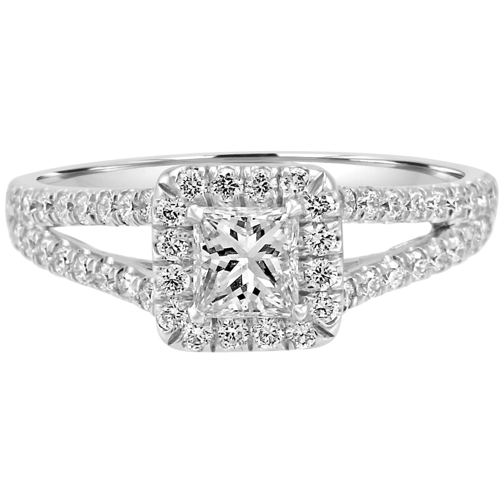 Princess Cut Diamond Halo Split Shank White Gold Bridal Engagement Fashion Ring