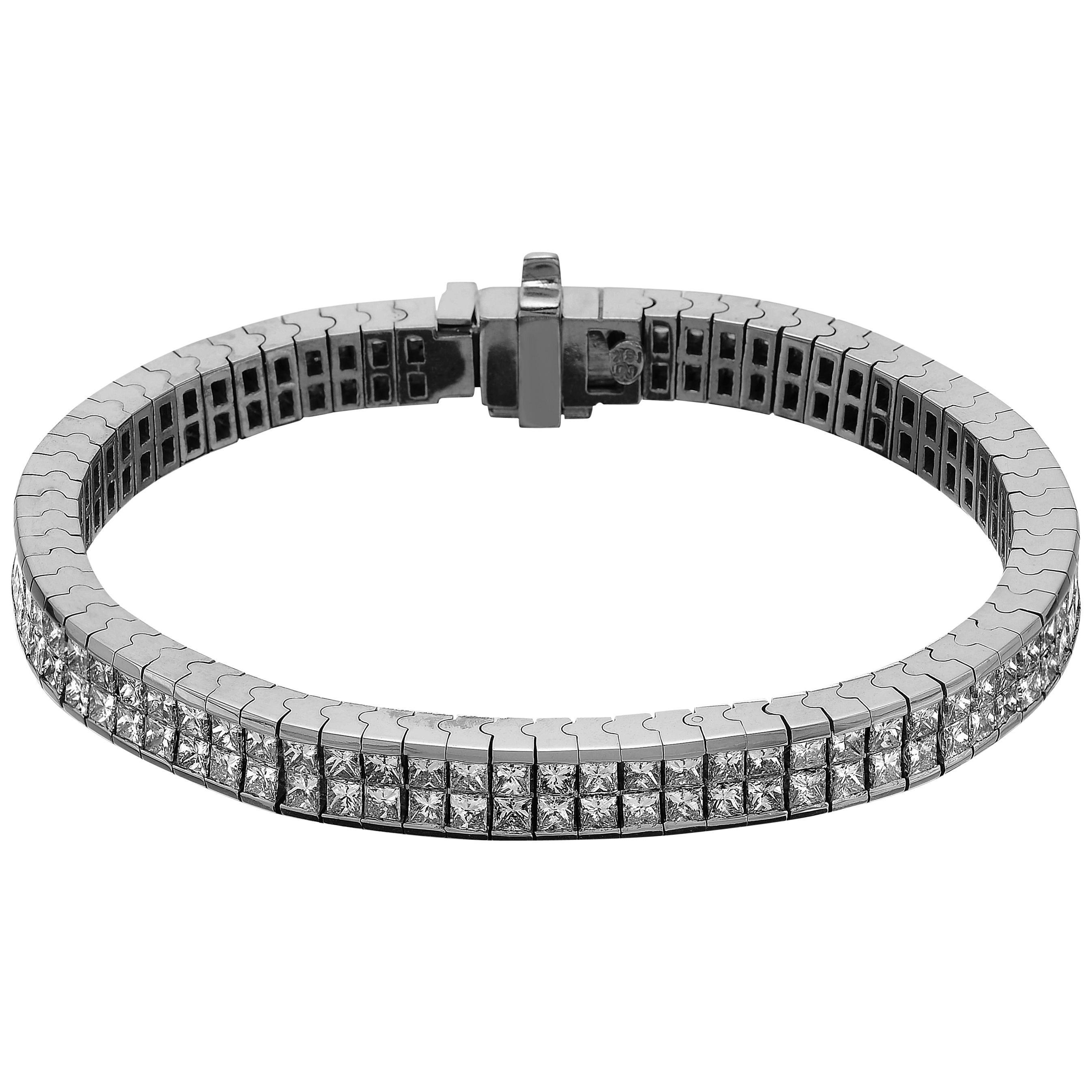 Princess Cut Diamond Double-Row Tennis Bracelet, Invisible set 18K White Gold