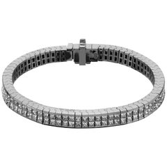 Princess Cut Diamond Invisible Setting Flexible Bracelet in 18 Carat White Gold