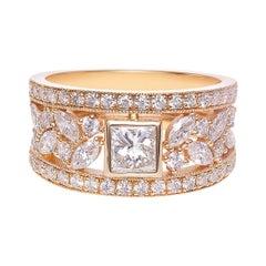 Princess Cut Diamond, Marquise Cut Diamond Unique Ring 18K Yellow Gold
