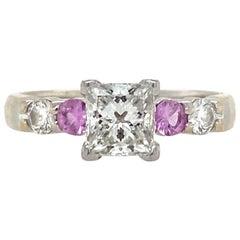 Princess Cut Diamond Pink Sapphire Ring Platinum/18 Karat Yellow Gold GIA G/IF
