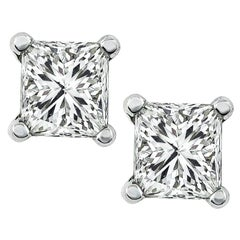 Princess Cut Diamond Platinum Stud Earrings