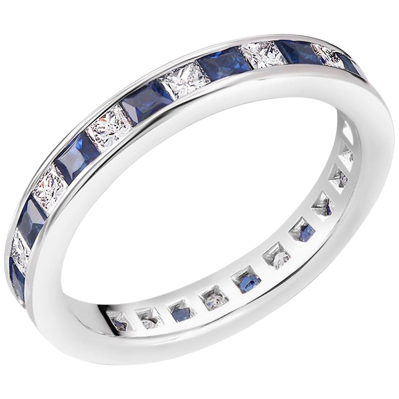 Princess Cut Diamond Sapphire Eternity 18 Karat Gold Band Weighing 2.50 Carat