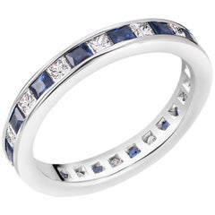 Princess Cut Diamond Sapphire Eternity 18 Karat Gold Band Weighing 2.50 Carat