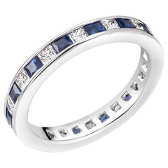 Princess Cut Diamond Sapphire Eternity Band Weighing 2.50 Carat