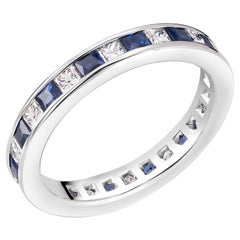 Princess Cut Diamond Sapphire Eternity Wedding Anniversary Band