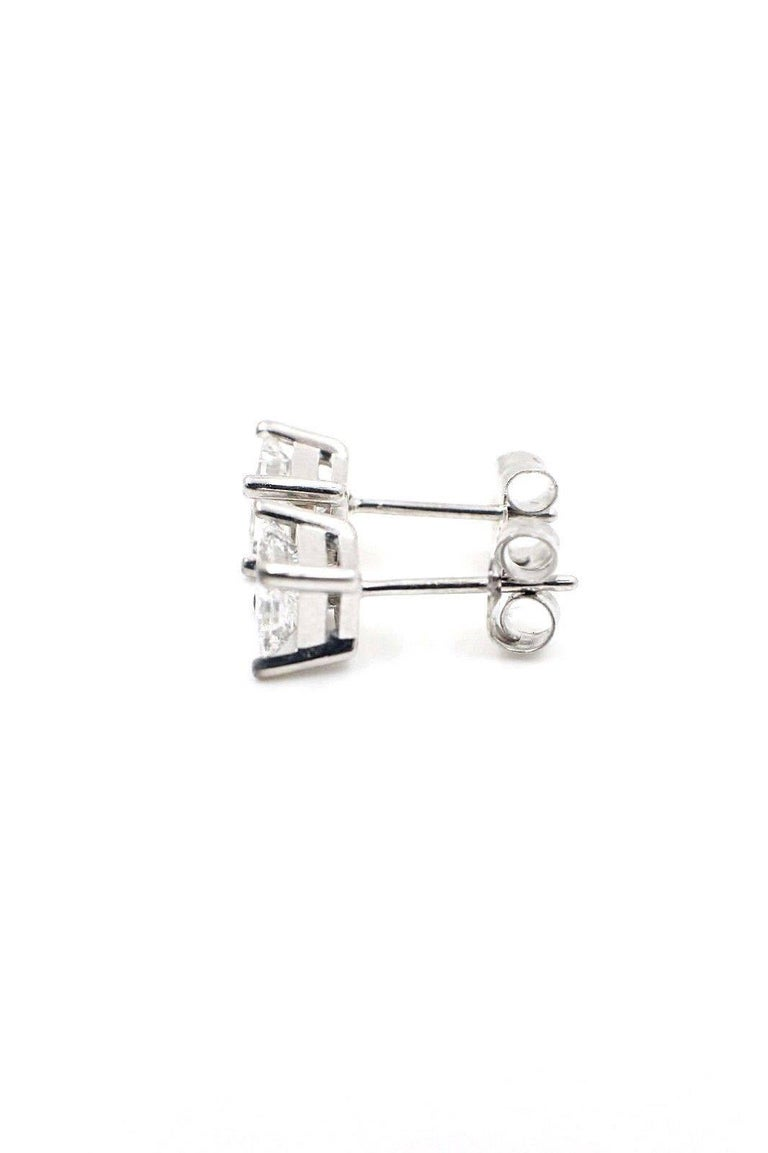 Princess Cut Diamond Stud Earrings 1.21 Carat Set in 14 Karat White Gold For Sale 1