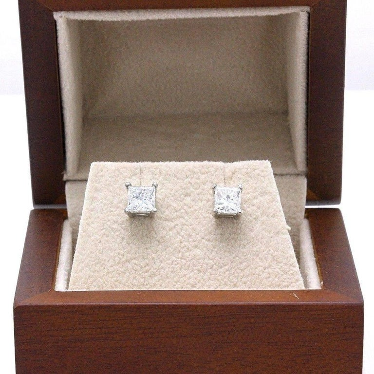 Princess Cut Diamond Stud Earrings 1.21 Carat Set in 14 Karat White Gold For Sale 2