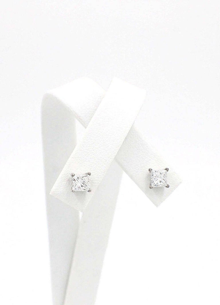 Princess Cut Diamond Stud Earrings 1.21 Carat Set in 14 Karat White Gold For Sale 3