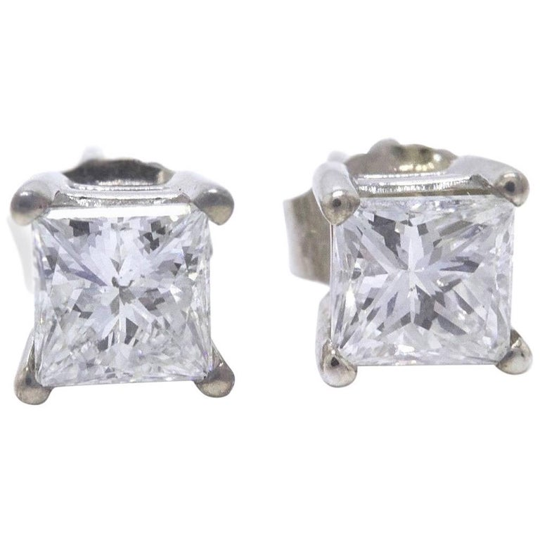 Princess Cut Diamond Stud Earrings 1.21 Carat Set in 14 Karat White Gold For Sale
