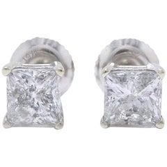 Princess Cut Diamond Stud Earrings 1.60 Carat Set in 14 Karat White Gold