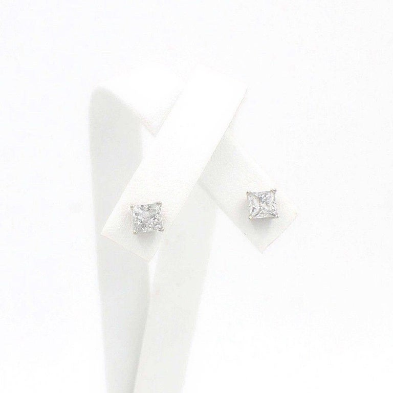 Princess Cut Diamond Stud Earrings 1.60 TCW Set in 14 Karat White Gold In Excellent Condition For Sale In San Diego, CA