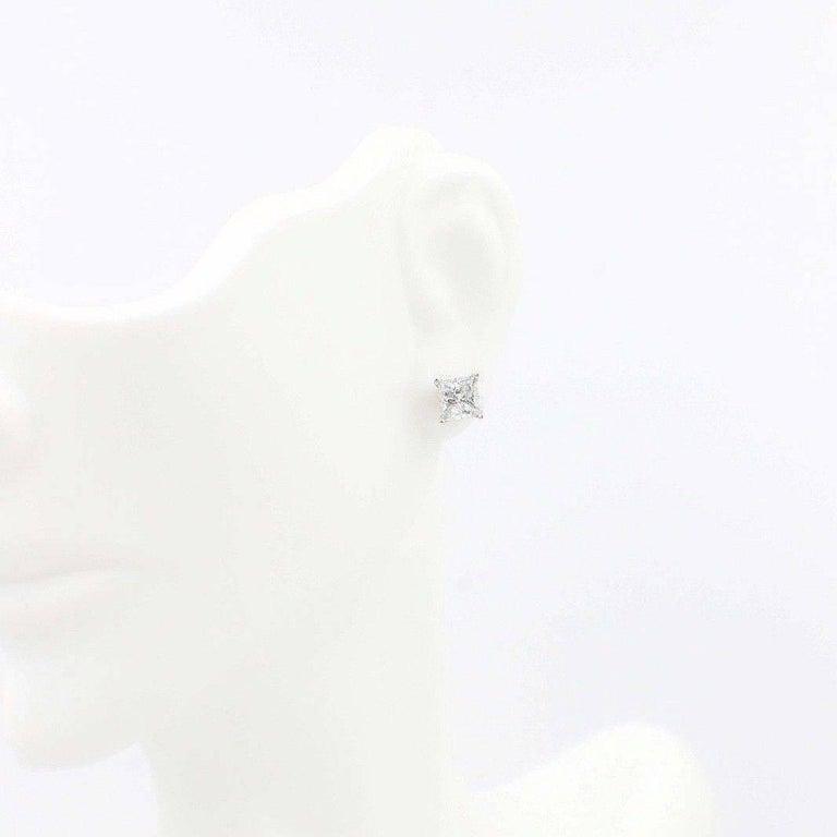 Women's Princess Cut Diamond Stud Earrings 1.60 TCW Set in 14 Karat White Gold For Sale