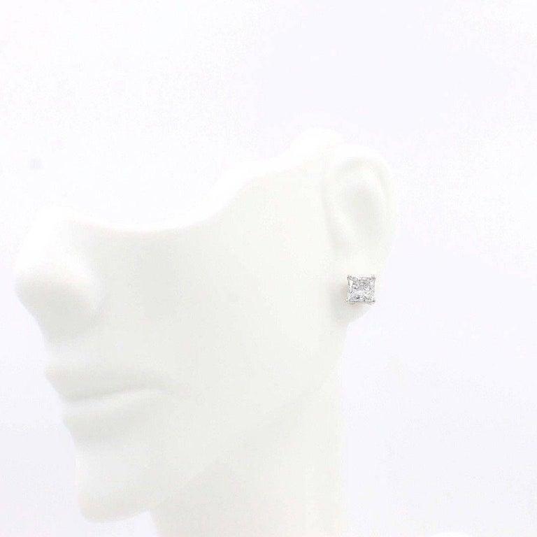 Princess Cut Diamond Stud Earrings 1.60 TCW Set in 14 Karat White Gold For Sale 1