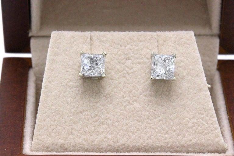 Princess Cut Diamond Stud Earrings 1.60 TCW Set in 14 Karat White Gold For Sale 2
