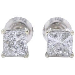 Princess Cut Diamond Stud Earrings 1.60 TCW Set in 14 Karat White Gold