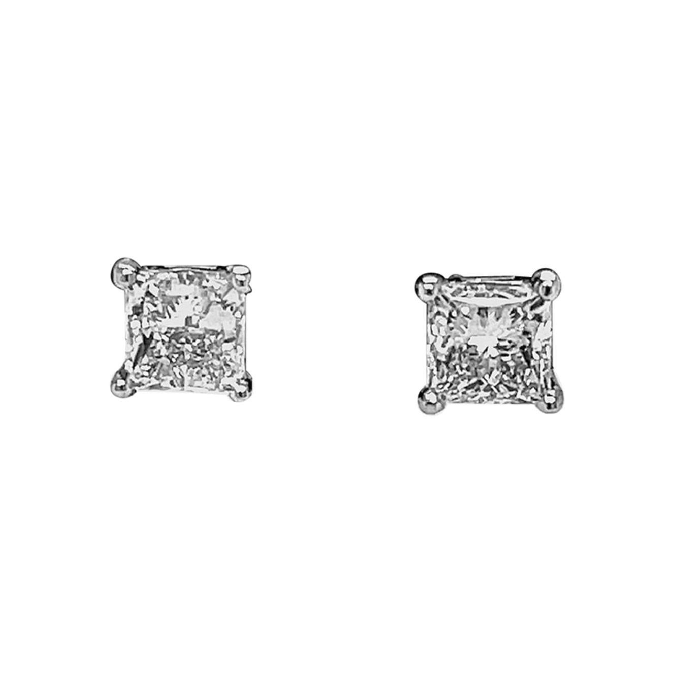 Princess cut Diamond Stud Earrings 2.00 Carats 14k White Gold 4-Prong