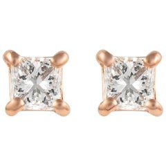 Alexander 0.69 Carat Princess Cut Diamond Stud Earrings Rose Gold
