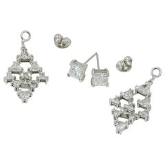 Princess Cut Diamond Studs and Trilliant Cut Jackets in 18 Karat WG