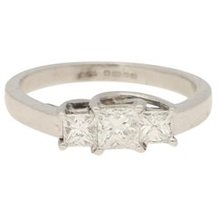 Princess Cut Diamond Three-Stone Engagement Ring Set in 9 Karat White Gold
