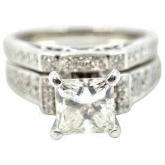 Princess Cut Diamond Wedding Set 18 Karat White Gold