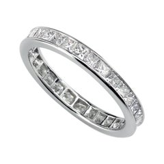 Princess Cut Diamonds Hand-forged Platinum Wedding Band by Leon Mege