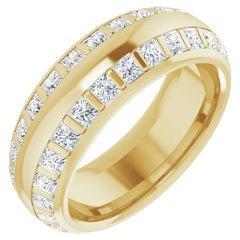 Princess Cut Double-Row Diamond Wedding Eternity Band 18 Karat Yellow Gold