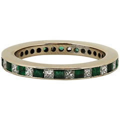 Princess Cut Emerald and Diamond Eternity Ring